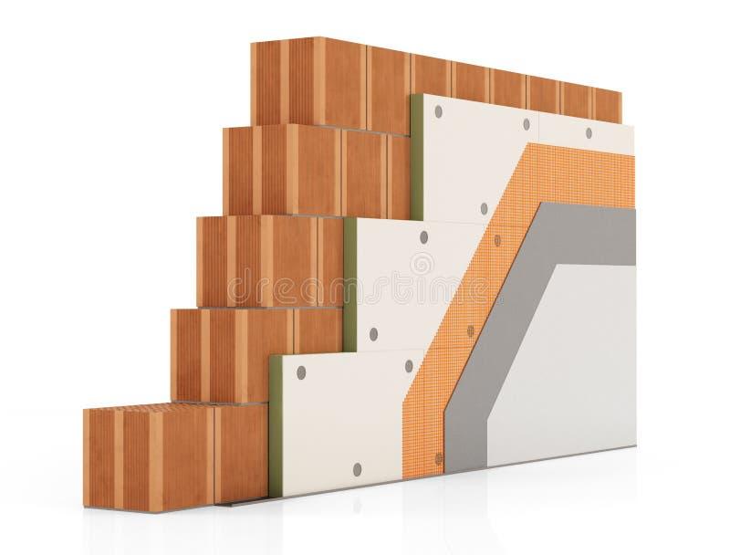 Detalle del aislamiento térmico de una pared de ladrillo foto de archivo libre de regalías