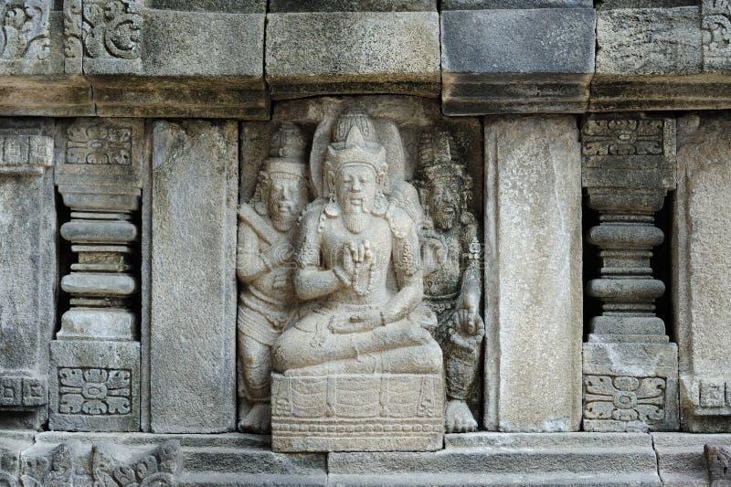 Detalle del alivio tallado en Prambanan foto de archivo