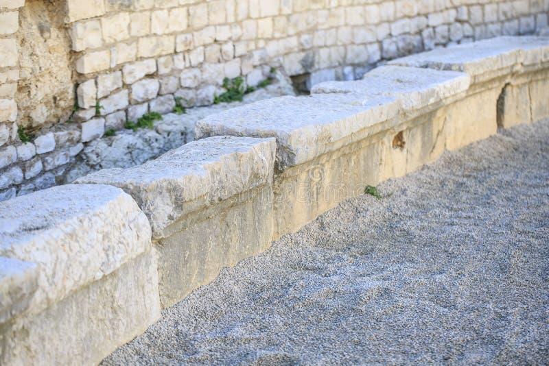 Detalle del anfiteatro localizado en Tarragona, España fotos de archivo