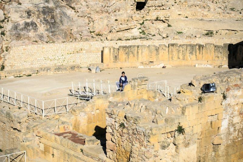 Detalle del anfiteatro localizado en Tarragona, España fotografía de archivo libre de regalías