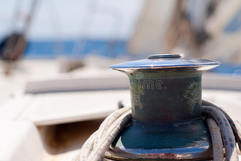Detalle del barco de vela, torno fotografía de archivo