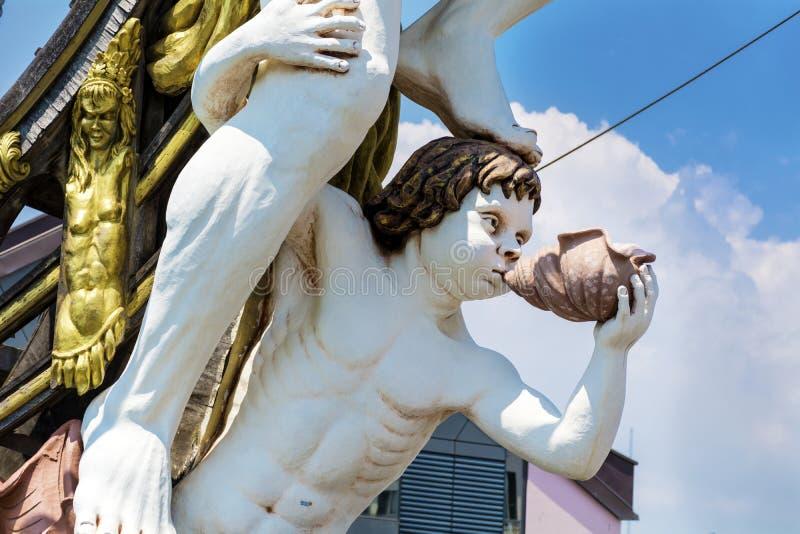 Detalle del barco pirata del galeón de Neptuno en Génova, Italia imágenes de archivo libres de regalías