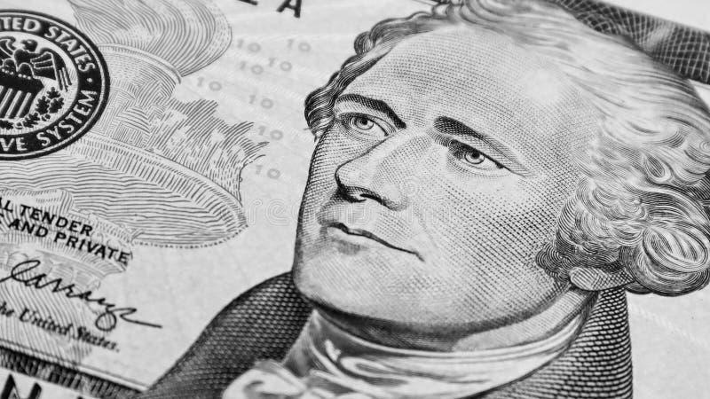 Detalle del billete de diez dólares de Alexander Hamilton Detalle por monedas de los Estados Unidos de América imagen de archivo