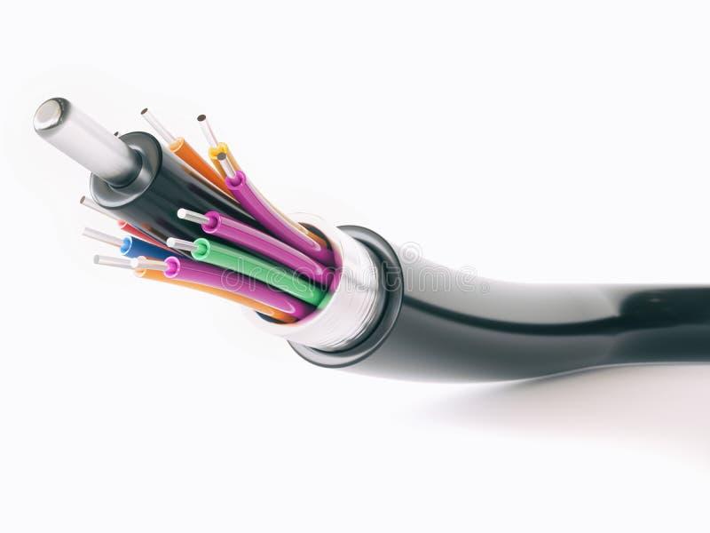 Detalle del cable óptico de la fibra - representación 3D foto de archivo