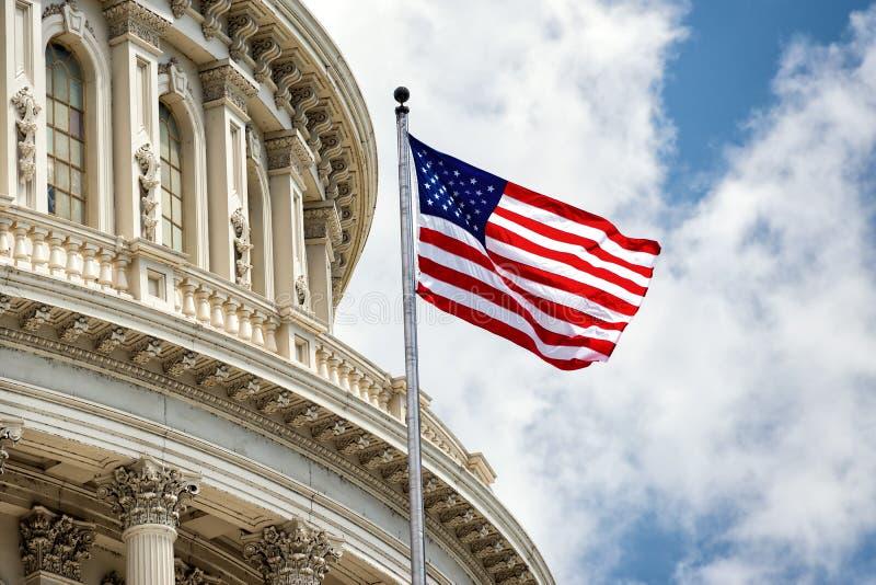 Detalle del capitolio del Washington DC en el cielo nublado imagen de archivo libre de regalías