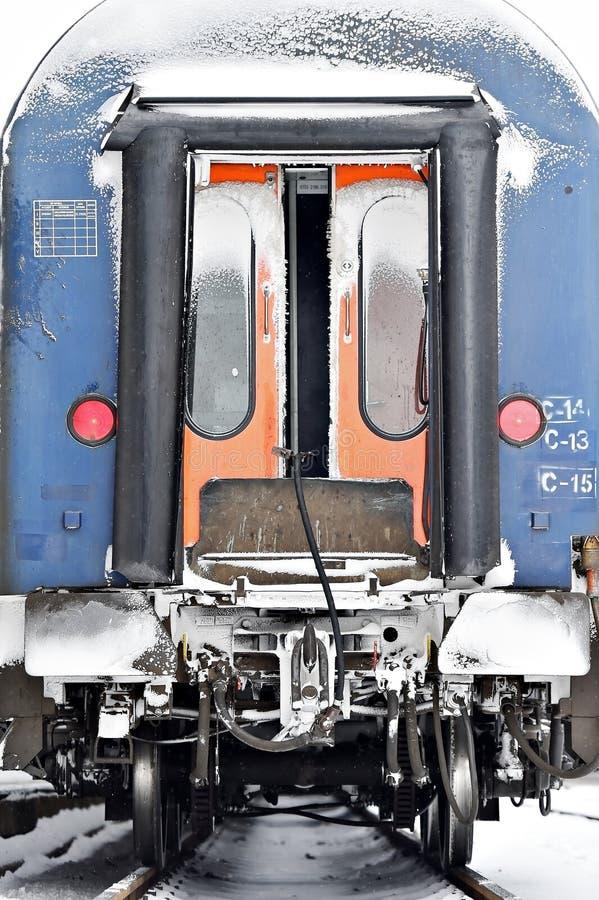 Detalle del carro del tren en invierno foto de archivo libre de regalías