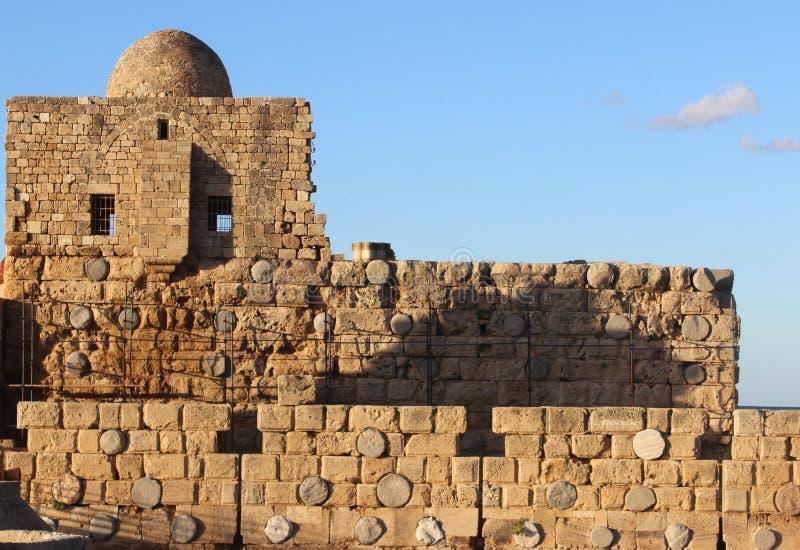 Detalle del castillo cruzado en Sidon, Líbano fotografía de archivo libre de regalías