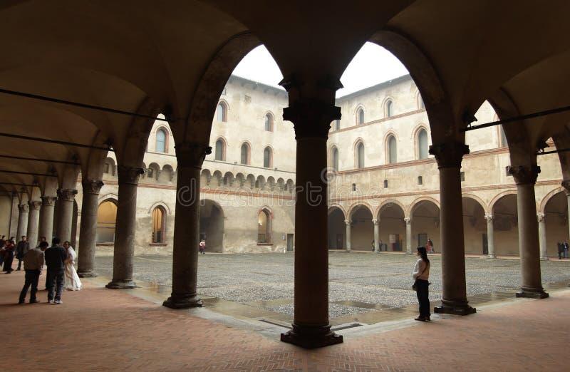 Detalle del castillo de Sforzas, Milano imagen de archivo