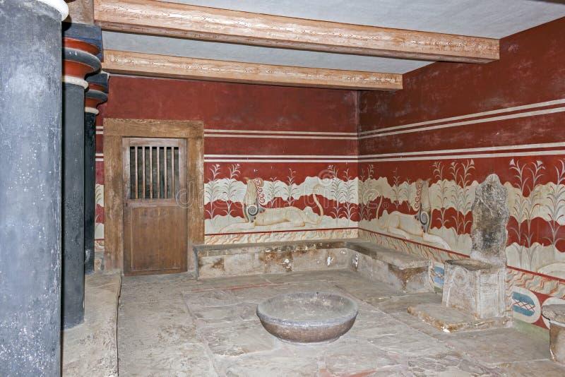 Detalle del cuarto del trono en el palacio de Knossos imagen de archivo