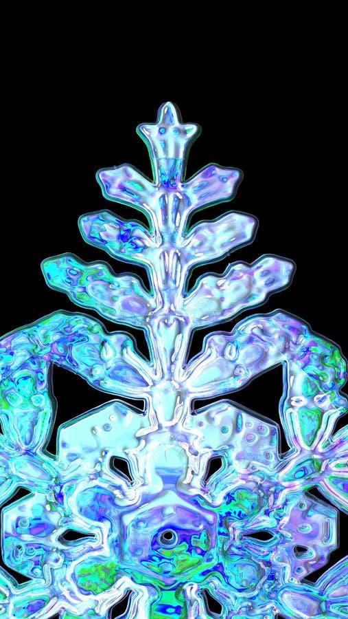 Detalle del ejemplo del copo de nieve en un fondo negro imagen de archivo libre de regalías