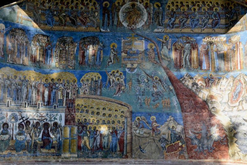 Detalle del fresco de la apocalipsis del día del Juicio Final encendido fotografía de archivo libre de regalías