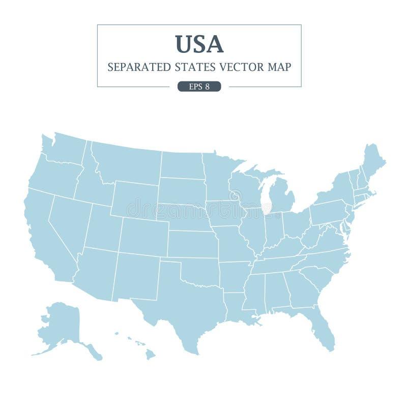 Detalle del mono color del mapa de los E.E.U.U. el alto separó todos los estados stock de ilustración