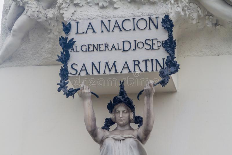 Detalle del monumento del libertador de Perú, Jose de San Martin en Lima, el PE imagen de archivo