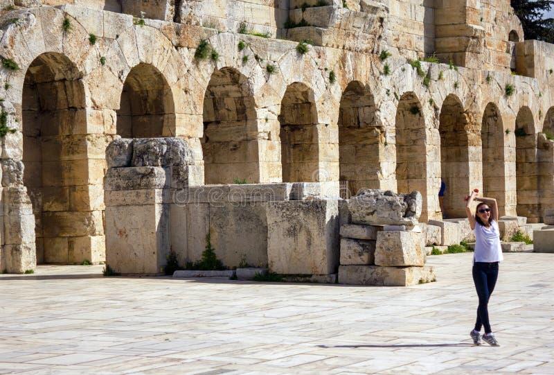 Detalle del Odeon del Atticus de Herodes, Atenas, Grecia foto de archivo
