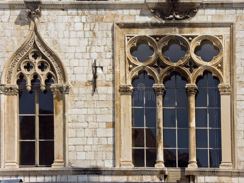 Detalle del palacio de Sponza en Dubrovnik foto de archivo
