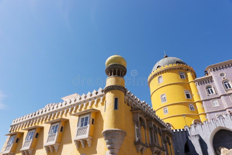 Detalle del palacio nacional de Pena y de x28; Palacio Nacional DA Pena& x29; - Palacio del Romanticist en Sintra imagen de archivo libre de regalías