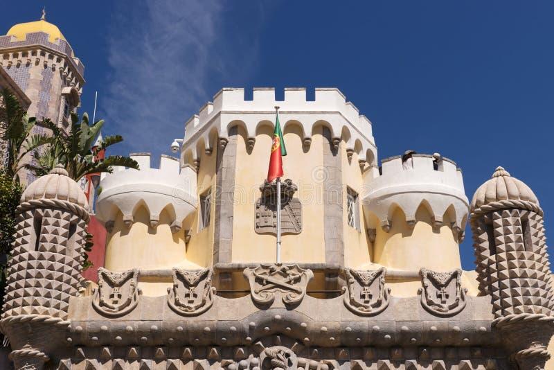 Detalle del palacio nacional de Pena y de x28; Palacio Nacional DA Pena& x29; - Palacio del Romanticist en Sintra foto de archivo