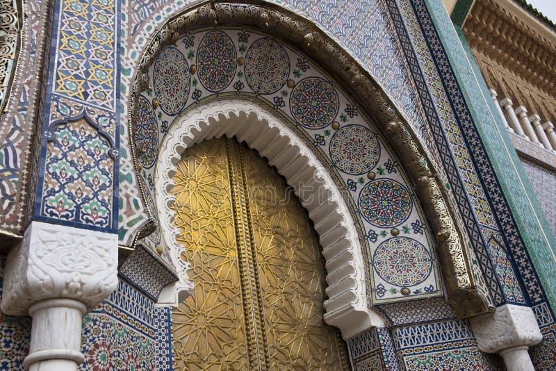 Detalle del palacio real en Fes, Marocco fotografía de archivo libre de regalías
