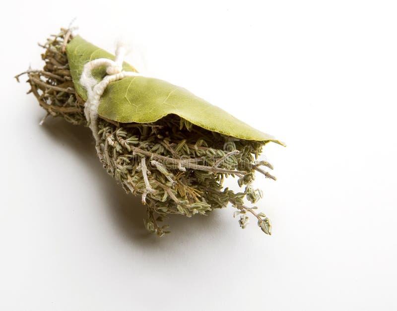 Detalle del primer de un ramo atado con el laurel y el tomillo foto de archivo libre de regalías
