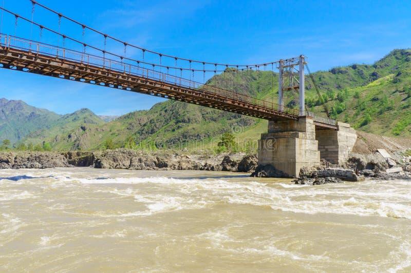 Detalle del puente cable-permanecido sobre el río Katun en Altai imagen de archivo