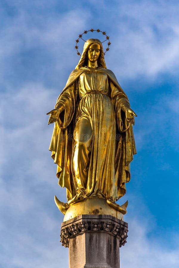 Detalle del santo Mary Column - Zagreb, Croacia imagen de archivo