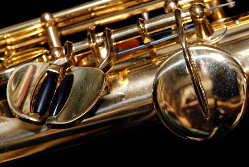 Detalle del saxofón del soprano fotografía de archivo
