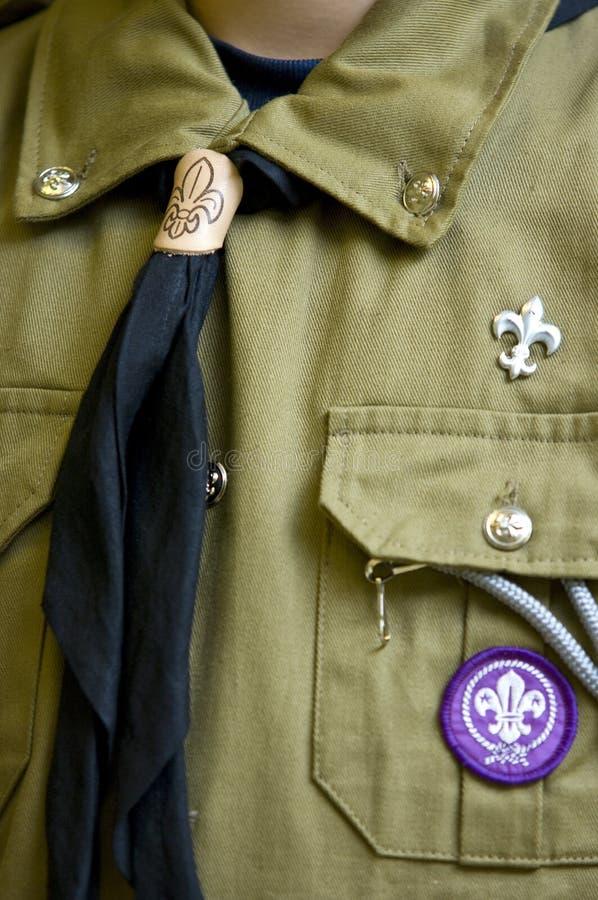 Detalle del uniforme del explorador fotos de archivo