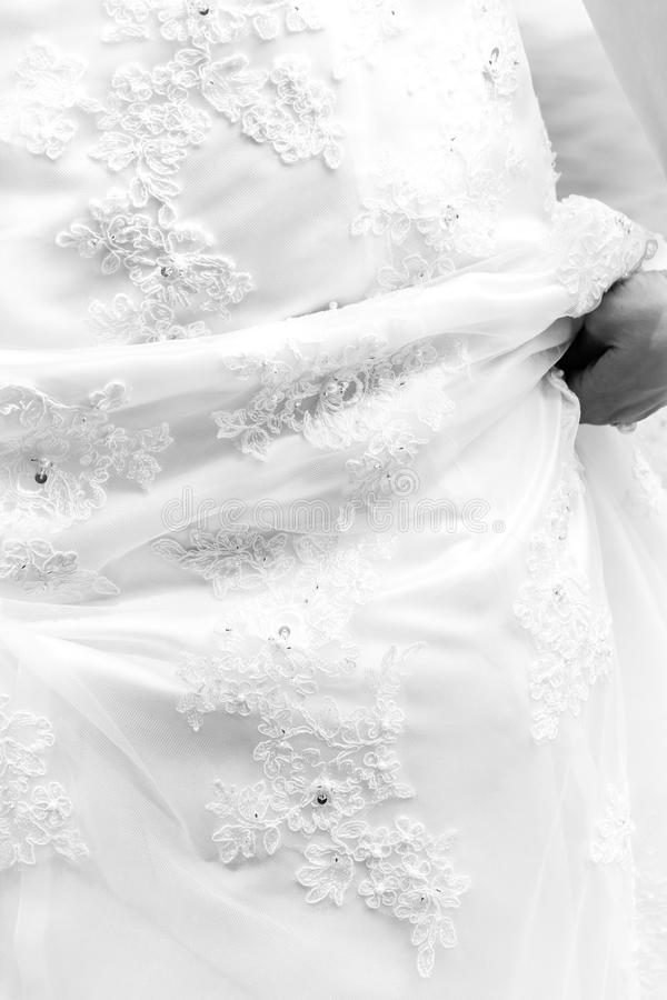 Detalle del vestido de boda foto de archivo libre de regalías
