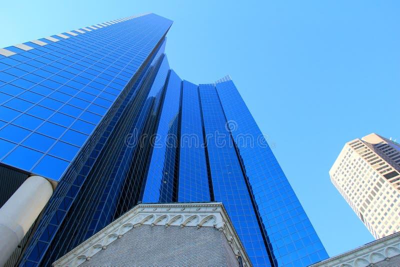 Detalle en la arquitectura imponente de edificios modernos, Denver céntrica, Colorado, 2015 imagen de archivo libre de regalías