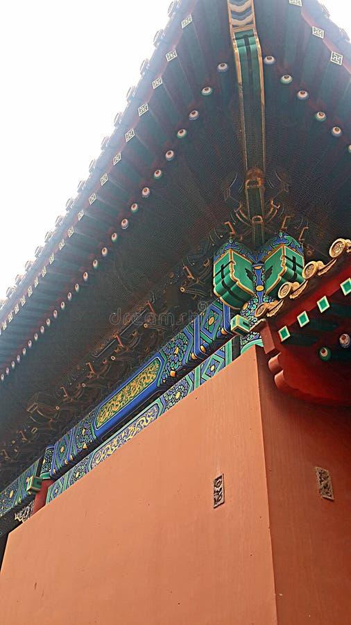 Detalle hermoso de la pared en la ciudad Prohibida en Pekín, China fotografía de archivo
