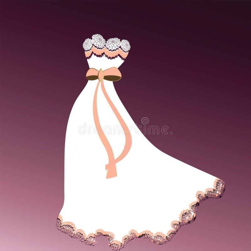 Detalle hermoso del cordón del vestido ilustración del vector