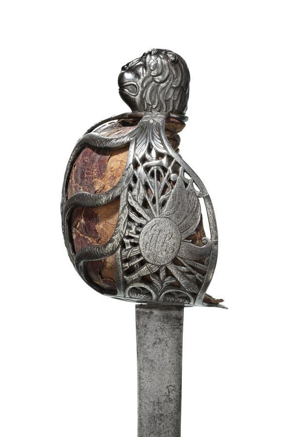 Detalle hilted cesta escocesa de la espada imágenes de archivo libres de regalías
