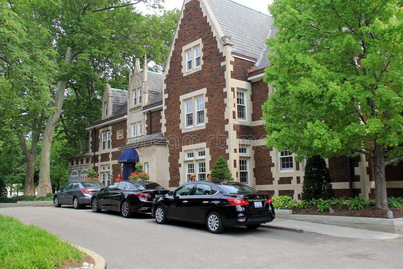 Detalle impresionante de la casa de Glidden del ladrillo y de la piedra, círculo de la universidad, Cleveland, Ohio, 2016 fotografía de archivo