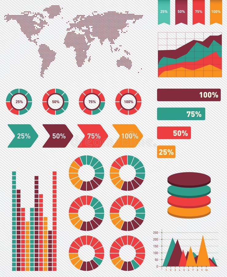 Detalle infographic. Gráficos del mapa del mundo stock de ilustración