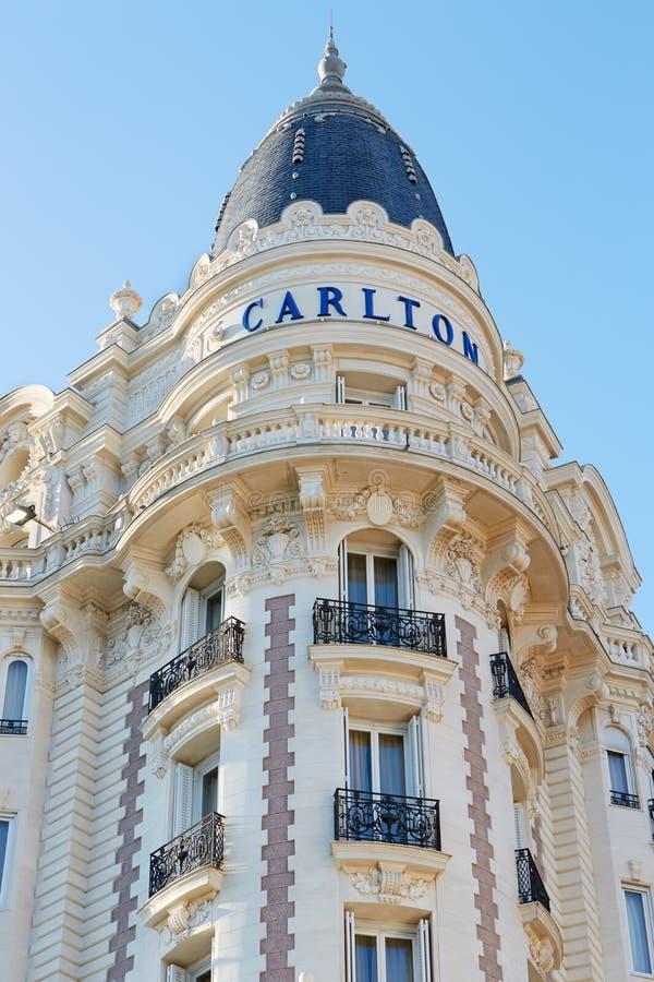 Detalle intercontinental de Carlton del hotel de lujo en Cannes foto de archivo