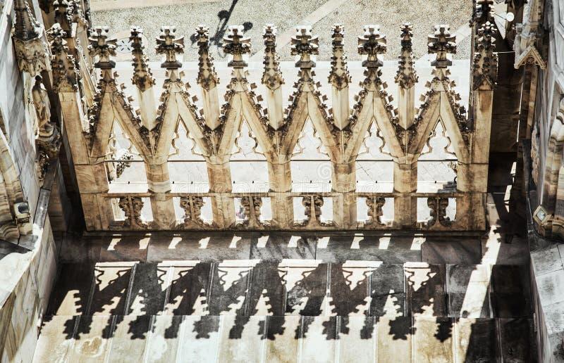 Detalle la foto de la catedral de Milán (di Milano), Italia, archit del Duomo imagen de archivo libre de regalías