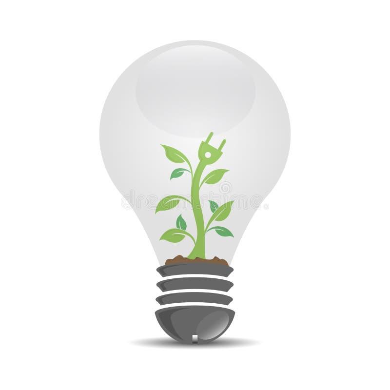 Detalle la plantilla realista del logotipo con la planta que crece la bombilla interior ilustración del vector