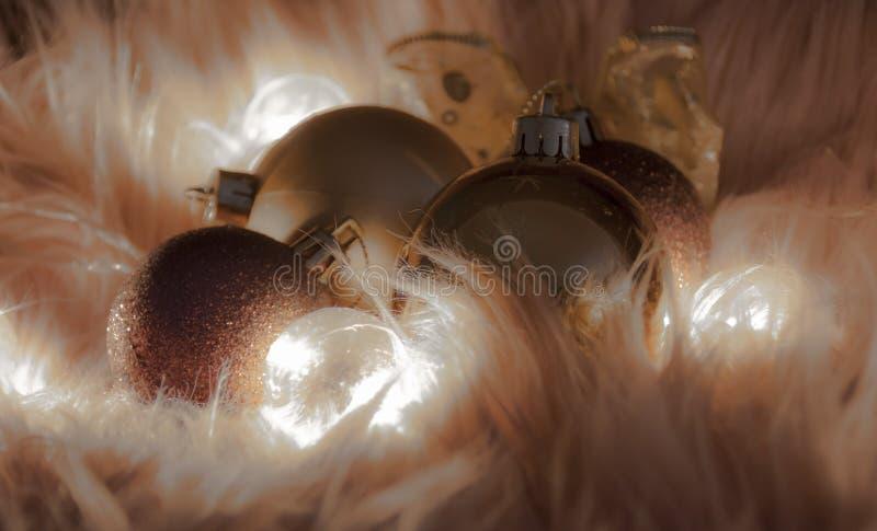 Detalle macro de varias bolas de la Navidad foto de archivo libre de regalías