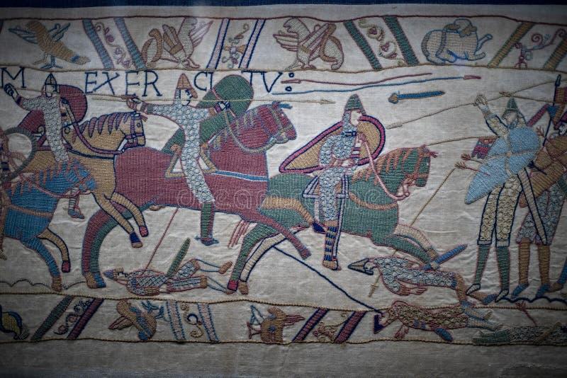 Detalle medieval de Inglaterra Francia de la batalla de la tapicería de Bayeux imagen de archivo