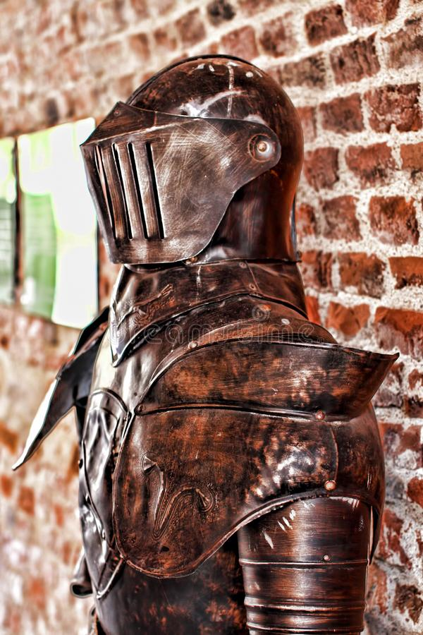 Detalle medieval de la armadura del caballero imagen de archivo