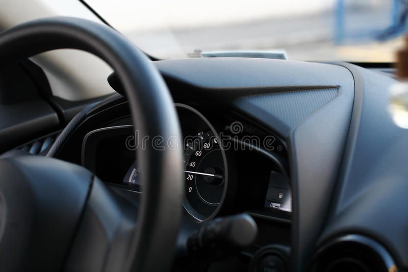 Detalle moderno del interior del coche imagen de archivo