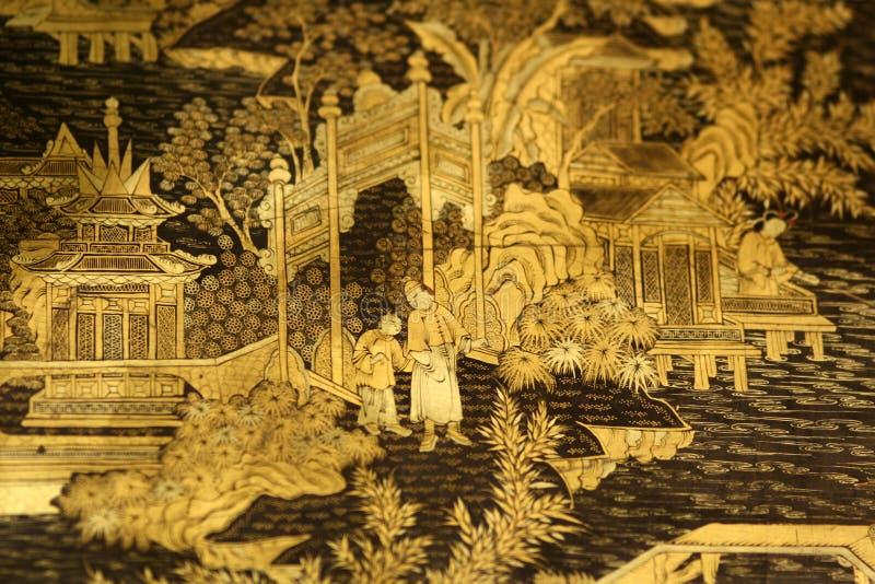Detalle negro oriental chino de los muebles de la laca del oro imágenes de archivo libres de regalías