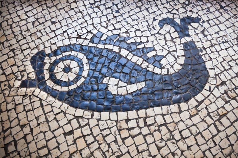 Detalle portugués tradicional del pavimento en Macao foto de archivo