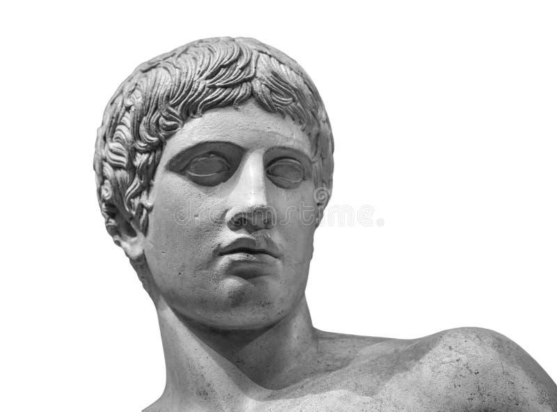 Detalle principal y de los hombros de la escultura antigua Aislado en el fondo blanco imágenes de archivo libres de regalías
