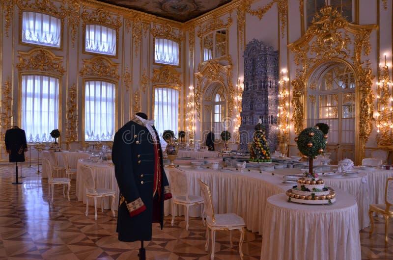 Detalle rococó del palacio de Tsarskoye Selo en Rusia fotografía de archivo