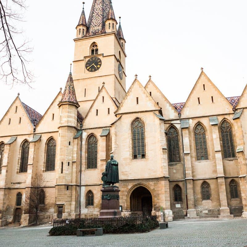 Detalles arquitectónicos de la catedral evangélica en Sibiu foto de archivo libre de regalías