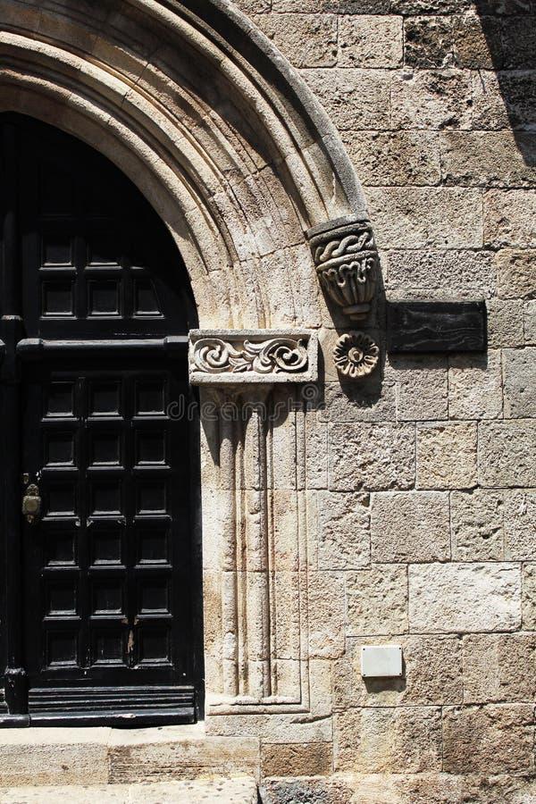Detalles arquitectónicos en la ciudad vieja, Rhodes Island, Grecia fotografía de archivo libre de regalías