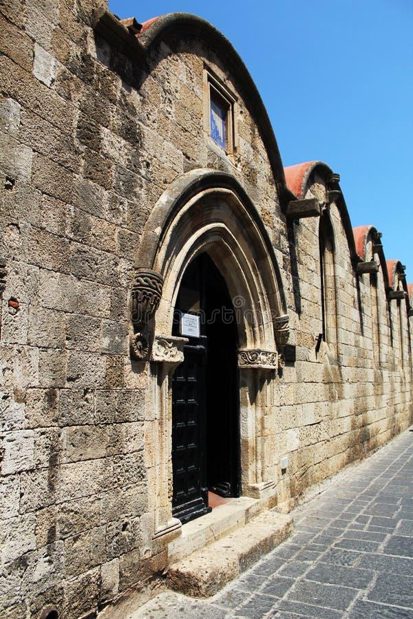 Detalles arquitectónicos en la ciudad vieja, Rhodes Island, Grecia imagen de archivo libre de regalías