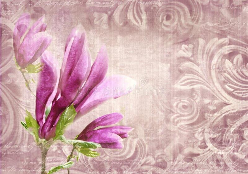 Detalles arquitectónicos Pared antigua en estilo del grunge con meandro, los capitales, los frisos y la magnolia de la flor libre illustration