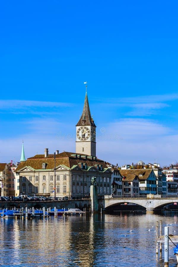 Detalles arquitectónicos, viejo centro de Zurich fotografía de archivo